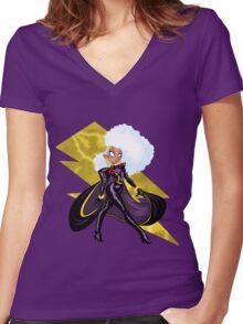 FIERCE LIKE LIGHTNING Women's Fitted V-Neck T-Shirt