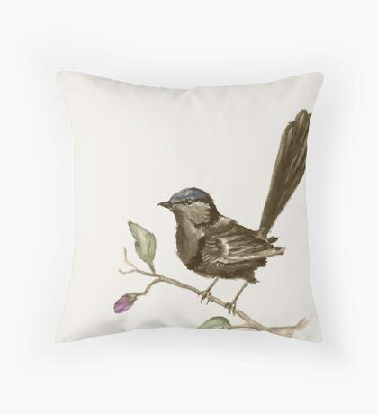 Splendid fairy-wren sepia  Throw Pillow