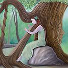 The Harpist and the Tree (Pillows & Totes) by Wil Zender