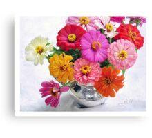 Zinnia Blooms Still Life Canvas Print
