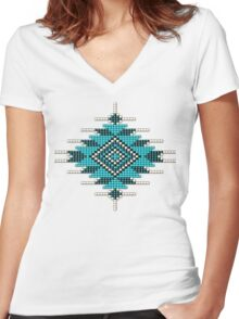 Turquoise Native American-Style Sunburst Women's Fitted V-Neck T-Shirt