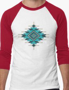 Turquoise Native American-Style Sunburst Men's Baseball ¾ T-Shirt