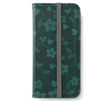 Green Floral Vine Pattern - Green Flowers iPhone Wallet/Case/Skin