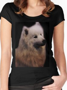 Samoyed Portrait Women's Fitted Scoop T-Shirt