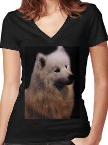 Samoyed Portrait Women's Fitted V-Neck T-Shirt