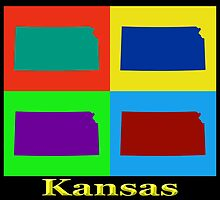 Colorful Kansas Pop Art Map by KWJphotoart
