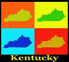 Colorful Kentucky Pop Art Map by KWJphotoart