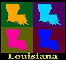 Colorful Louisiana Pop Art Map by KWJphotoart