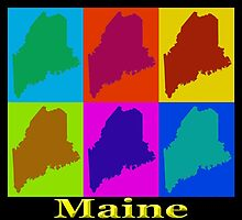 Colorful Maine Pop Art Map by KWJphotoart