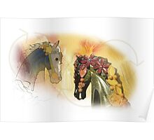 Graphic carousel horses Poster