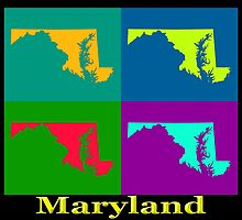 Colorful Maryland Pop Art Map by KWJphotoart