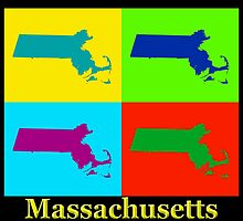 Colorful Massachusetts Pop Art Map by KWJphotoart