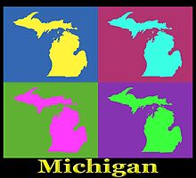 Colorful Michigan State Pop Art Map by KWJphotoart