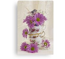 Tea Cups And Daisies  Canvas Print