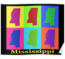 Colorful Mississippi State Pop Art Map Poster