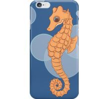 Adult and Baby Orange Seahorses over Blue with Bubbles iPhone Case/Skin