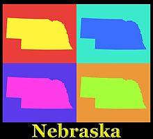 Colorful Nebraska State Pop Art Map by KWJphotoart