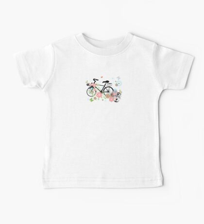Bicycle and Floral Ornament Baby Tee