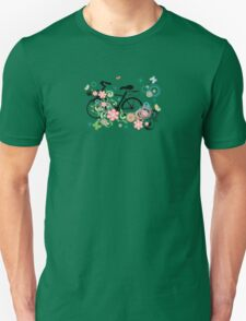 Bicycle and Floral Ornament Unisex T-Shirt