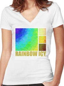 Rainbow Icy Women's Fitted V-Neck T-Shirt
