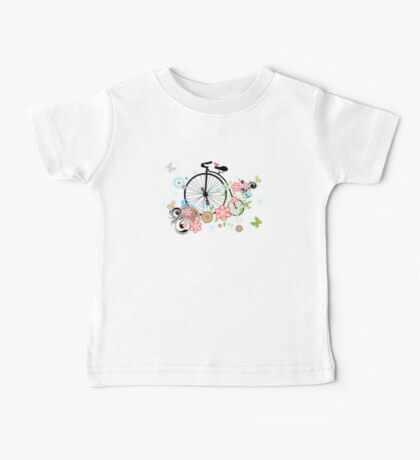 Bicycle and Floral Ornament 2 Baby Tee