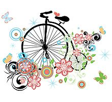 Bicycle and Floral Ornament 2 Photographic Print