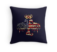 AMERICA 2 HEADED DRAGON FLAG FIRE RINGS Throw Pillow