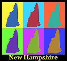 Colorful New Hampshire Pop Art Map by KWJphotoart