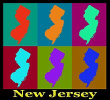 Colorful New Jersey State Pop Art Map by KWJphotoart