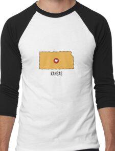 Kansas State Heart Men's Baseball ¾ T-Shirt