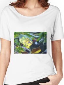 Macro on green and yellow leaves. Women's Relaxed Fit T-Shirt