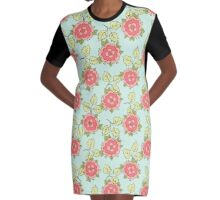 Doodle Rose Seamless Pattern Graphic T-Shirt Dress