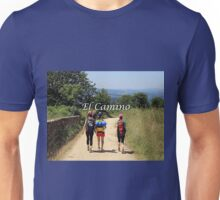 Walkers on El Camino de Santiago, Spain (caption) Unisex T-Shirt