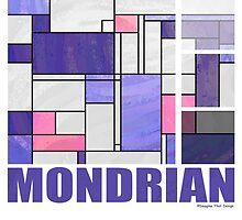 Mondrian Pink Purple White  by Traci VanWagoner