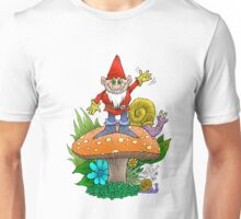Happy waving gnome, standing on a mushroom. Unisex T-Shirt
