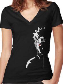 Naruto Shippuden - Naruto Uzumaki Face Red Eye Black Anime Women's Fitted V-Neck T-Shirt
