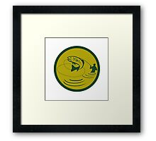 Trout Jumping Fly Fisherman Circle Retro Framed Print