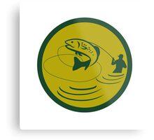 Trout Jumping Fly Fisherman Circle Retro Metal Print