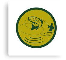 Trout Jumping Fly Fisherman Circle Retro Canvas Print