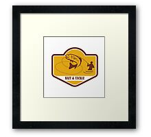 Trout Jumping Fly Fisherman Crest Retro Framed Print