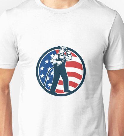 Welder Standing Visor Up USA Flag Circle Retro Unisex T-Shirt
