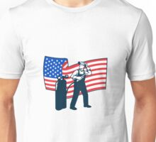 Welder Standing Visor Up USA Flag Wavy Retro Unisex T-Shirt