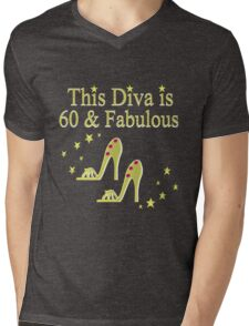 GLITTERY GOLD 60 AND FABULOUS Mens V-Neck T-Shirt