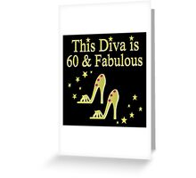 GLITTERY GOLD 60 AND FABULOUS Greeting Card