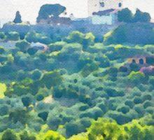 Tuscany idyllic landscape - watercolor painting Sticker