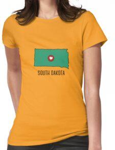 South Dakota State Heart Womens Fitted T-Shirt