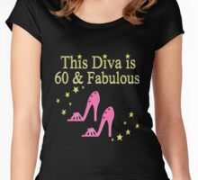 PINK SPARKLING 60 AND FABULOUS Women's Fitted Scoop T-Shirt