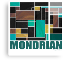 Mondrian Teal Brown Black  Canvas Print