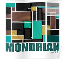 Mondrian Teal Brown Black  Poster