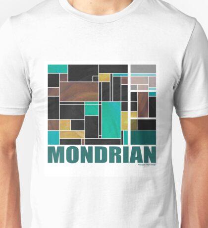 Mondrian Teal Brown Black  Unisex T-Shirt